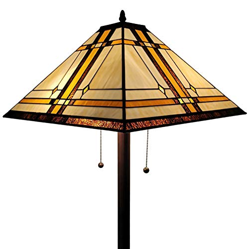 Amora Lighting AM1053FL17 Tiffany Style Floor Lamp, Brown