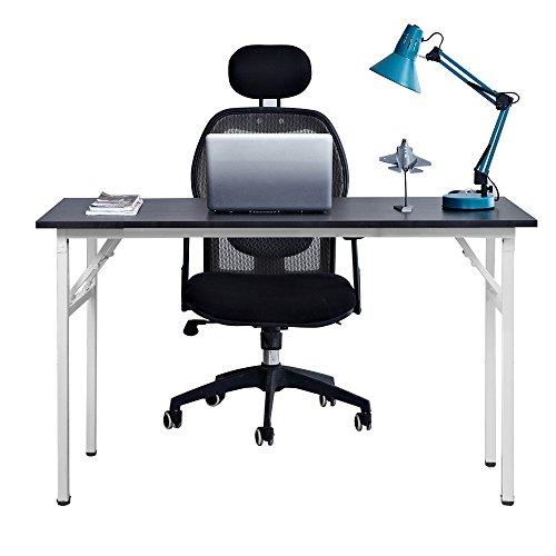 Need Mesa Plegable 120x60cm Mesa de Ordenador Escritorio de Oficina Mesa de Estudio Puesto de Trabajo Mesas de Recepción Mesa de Formación AC5CW-120 (Negro & Blanco)