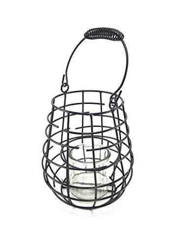Laterne Windlicht aus Metall Schwarz - Höhe 18 cm - Metalllaterne für draußen als Gartenlaterne, oder Innen als Tischlaterne