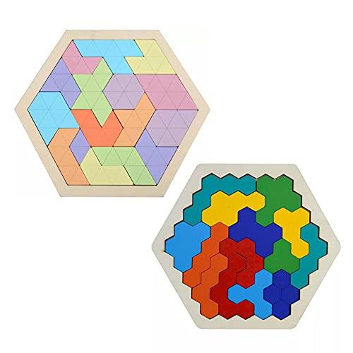 Kaimeilai 2 Stück Tangram Holzpuzzles, Hölzernes Sechseck-Puzzle, Geometrie Spielzeug, Lernspielzeug, Montessori Spielzeug, Knobelspiel für Kinder, für Alle Altersgruppen Herausforderung