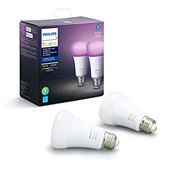 Philips Hue 548610 CFH Smart Light A19 2 Bulbs White and Color Ambiance  16 Million Colors  2 Count