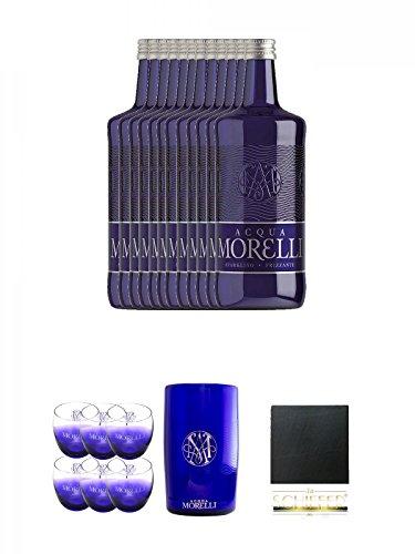 Morelli Sparkling Frizzante 12 x 0,75 Liter + Morelli Leonardo Wassergläser mit Eichstrich 0,2 Liter 6 Stück + Morelli Wasserkühler aus Acryl + Schiefer Glasuntersetzer eckig ca. 9,5 cm Durchmesser