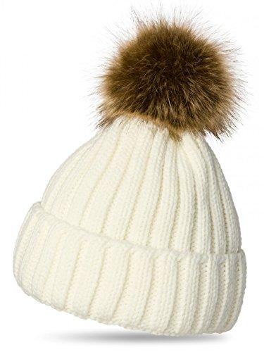 Caspar MU054 Damen Winter Strickmütze mit großem Fellbommel, Farbe:Weiss