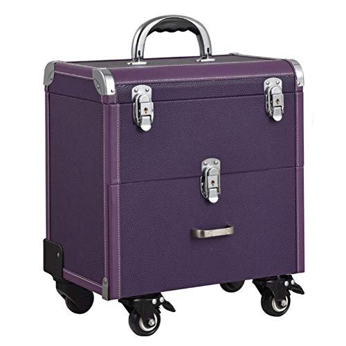 Maquillage Valise Trolley Vanity Train de laminage à deux couches avec Mute roulette professionnel grande capacité Nail Beauty Trolley trousse cosmétique,Purple