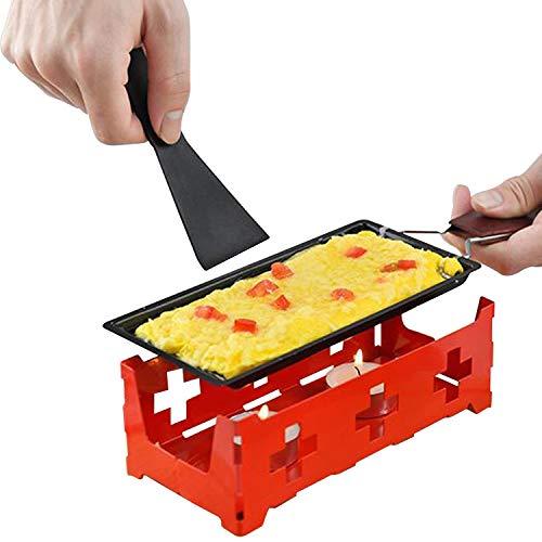Non-Stick Raclette Set Fromage Fondant Pan avec Spatule poignée pliable Fondu Raclette en acier au carbone Gadgets de cuisine Drain de Graisse Facile (Color : Red)