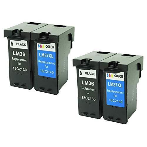 Caidi - Juego de 4 Cartuchos de Tinta para Impresora Lexmark X3650, X4650, X5650, X6650, X6650, X6675, Z2420