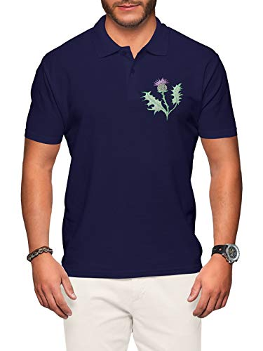 Scotland Rugby Poloshirt für Herren, Schottische Distel – Shirts Nationen Fußball-T-Shirts Gr. X-Large, Navy