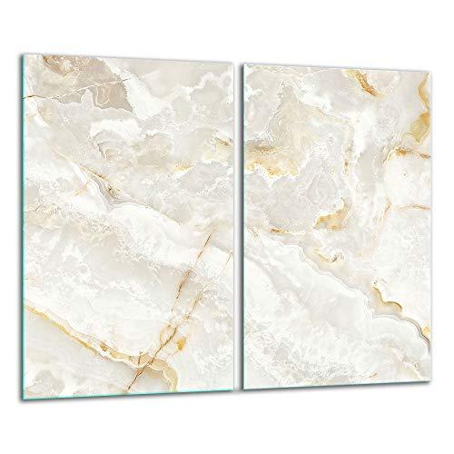 QTA | Herdabdeckplatten 2x30x52 cm Ceranfeld 2-Teilig Universal Elektroherd Induktion für Kochplatten Herdschutz Deko Schneidebrett Sicherheitsglas Spritzschutz Glas Weiß Marmor