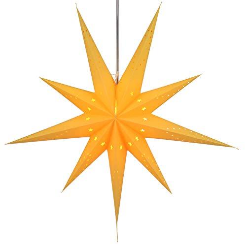 Guru-Shop Faltbarer Advents Leucht Papierstern, Weihnachtsstern 80 cm - Lyra Gelb, Star Fensterdeko, 5 Spitzen