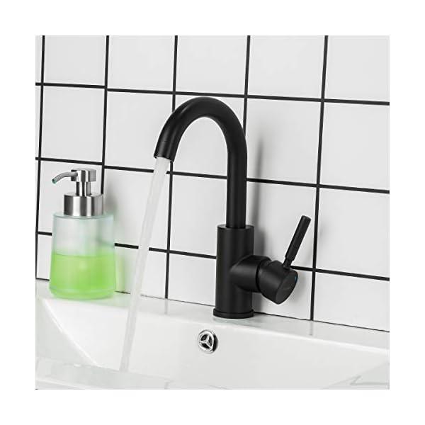 GAPPO – Grifo mezclador monomando para lavabo (mango único, giratorio de 360 grados, acero inoxidable, sin plomo, color…