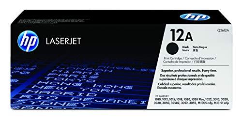 HP 12A Q2612A, Negro, Cartucho Tóner Original, de 2.000 páginas, para impresoras HP LaserJet Serie 1000, 3000, 1022N, 1022NW, 3050, 3052, 3055, 1018, M1005mfp, 1028, M1319 MFP y 108se