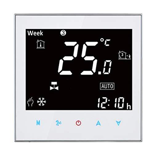 JINSE centrale airconditioning, type Touch LCD digitale 2-buisventilatorspoel, kamerthermostaat, display ventilatorsnelheid/klok/temperatuur/tijd/week/hitte etc. Large wit
