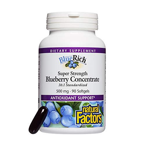 Natural Factors, BlueRich, super-stark, Blaubeerkonzentrat, 500 mg, 90 Softgelkapseln