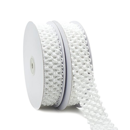 CT CRAFT LLC Elastic Crochet Headband Ribbon for Hair Bows, Hair Accessories for Girls, Waistband for Baby, Boy and Girl, Gift Wrapping, 1-1/4 inch (30mm) x 5 Yards x 2 Rolls, White
