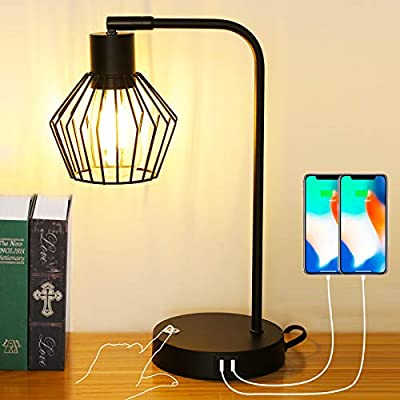 Haian 3-Way Dimmable Touch Control Table Lamp, Industrial Desk Lamp with USB Ports, Bedside Reading Lamp, Metal Rustic Design for Bedroom, Vintage Edison Bulb Lamp (LED Bulb Included), Black