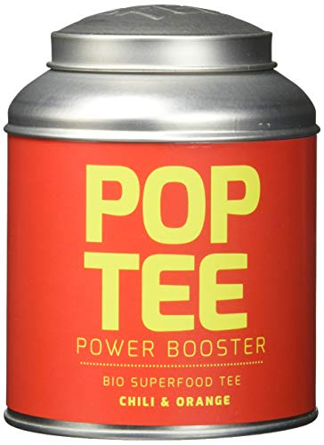 POP TEE Chili und Orange Dose, Grüner, Superfood, Power Booster, 1er Pack (1 x 60 g)