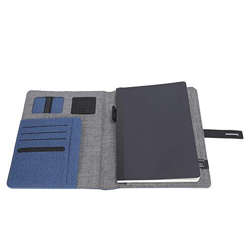 Cahier de chargement sans fil, ordinateur portable en cuir A5 portable avec batterie externe de 5000 mAh avec port USB pour entrevues, voyages d'affaires, réunions de travail bleu