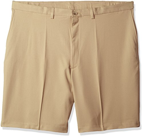 Haggar Men's Big and Tall Cool 18 Pro Classic Fit Stretch Flat Front Short, Khaki, 46