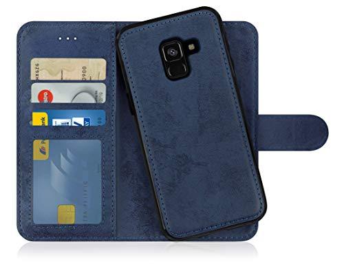 MyGadget Flip Hülle Handyhülle für Samsung Galaxy A8 2018 - Magnetische Hülle aus Kunstleder Klapphülle - Kartenfach Schutzhülle Wallet - Blau