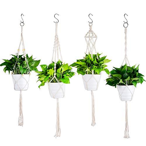 Ulikey 4 Stück Makramee Blumenampel Baumwollseil Hängeampel, Blumentopf Pflanzen Halter Aufhänger, Pflanzenhalter für Innen Außen Decken Balkone Wanddekoration