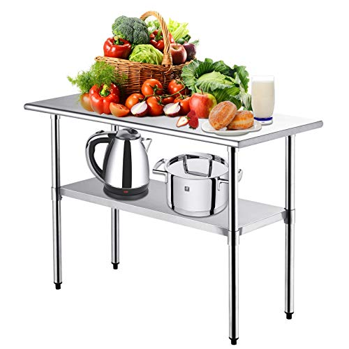 Kitchen Work Table -Nurxiovo Stainless Steel Kitchen Prep Food Commercial Grade Metal Scratch Resistent and Antirust Work Table Workbench with Adjustable Table Toot,36 X 24 Inches