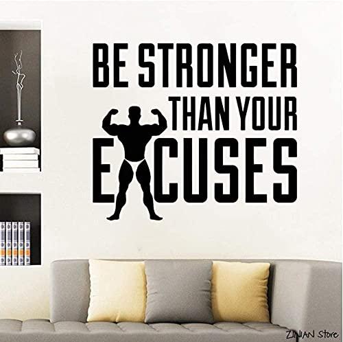 Be Stronger Motivational Quotes Wall Decal Fitness Excuses Vinilo Pegatina Gimnasio Decoración Crossfit Pegatinas de pared Art Mural Dormitorio 66x57cm