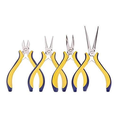 BENECREAT 4-teilige Schmuck Zange Set mit Comfort Rubber Grip fur Schmuckherstellung, Handwerk Making - Spitzzange/Rundnase/Bent Nase/Side Cutting Pliers