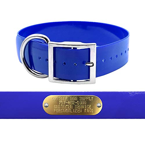 "Heavy Duty 1 1/2"" D Ring Hunting Dog Name Collar with Free Brass ID Plate (Dark Blue)"