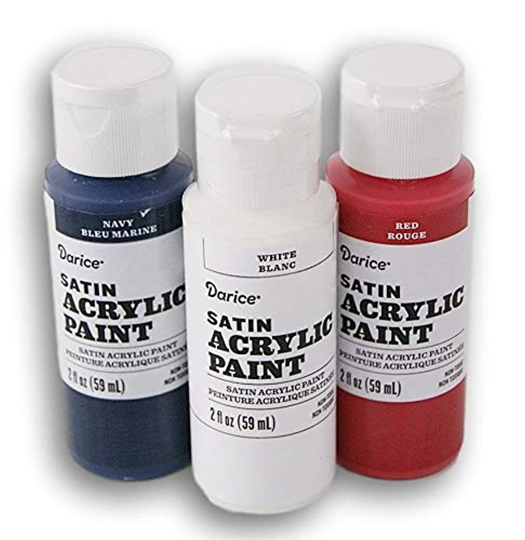Satin Acrylic Paint Set - White, Navy Blue, and Red