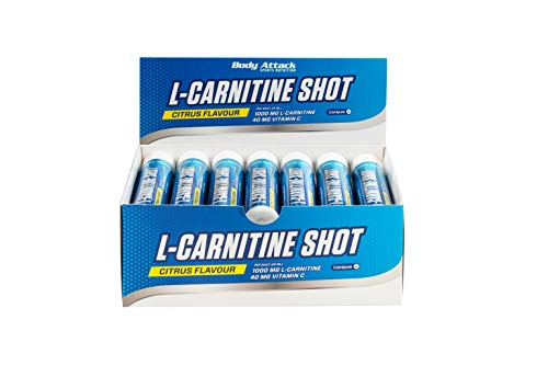 Body Attack L-Carnitine Shot Ampulle - maximale Wirkung Hochwertiges Carnipure, Zitrone (20x 25 ml)