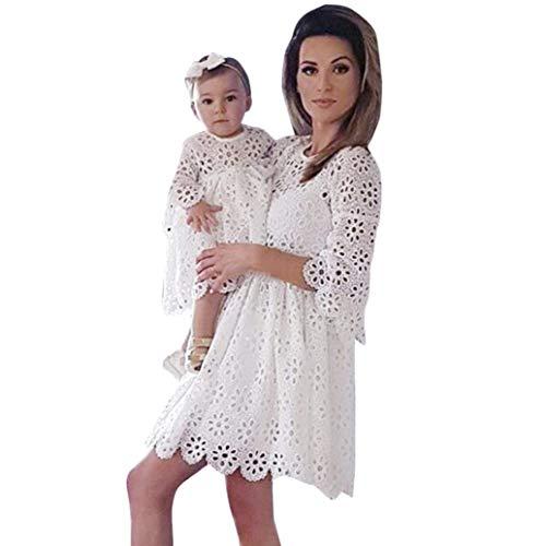 MCYs Mommy & Me Mutte und Tochter Baby Mädchen Langarm Lace Match Tochter Familie Kleid Herbst Blumen Spitze Strandkleid Minikleid (M, Mama Weiß)