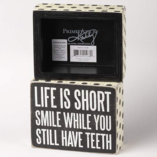 """Primitives by Kathy 21238 Polka Dot Trimmed Box Sign, 4"""" x 5"""", Life is Short"""