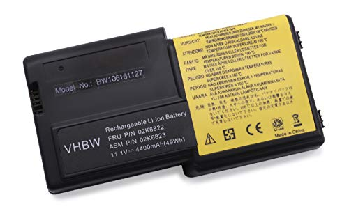 vhbw Li-ION Batterie 4400mAh (11.1V) pour Ordinateur Portable, Notebook IBM ThinkPad R30, R31 comme 02K6821, 02K6822, 02K6824, 02K6829.