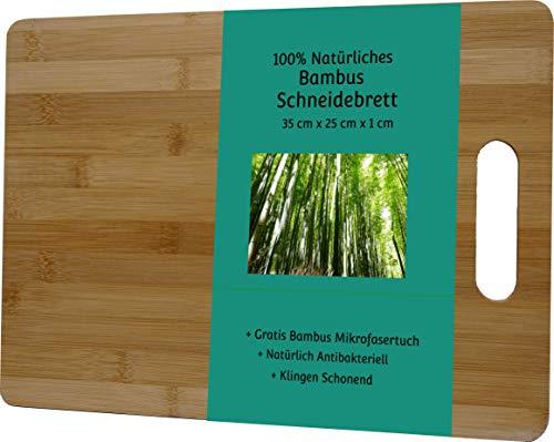 Tabla de cortar de bambú con paño de microfibra de bambú