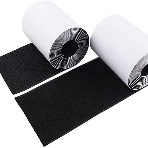 4' Hook and Loop Tape Self-Adhesive Strips Set with Sticky Glue Nylon Fabric, Fastener Black, 3 Yards (9 Feet), COCOBOO