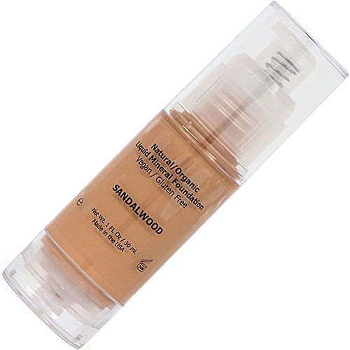 Shimarz Liquid Foundation Full Face Coverage Makeup for Women with Dry Oily Acne Sensitive Mature Skin, Medium to Tan Color, Sandalwood, 1FL oz/30ml (Pack of 1)