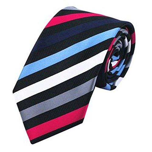 Jason & Vogue Designer Cravate en Noir avec Rayures colorées