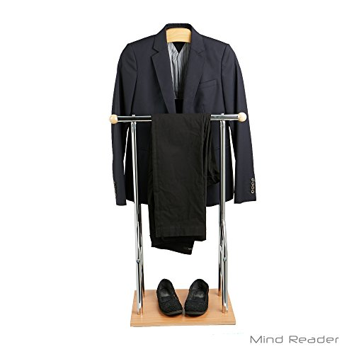 Mind Reader STRECT-SIL Steel and Bamboo Wood Valet Suit Rack Stand, Silver