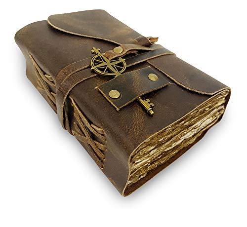 Vintage Notizbuch Leder - Antikes, handgemachtes Leder Notizbuch mit rustikalem Büttenrandpapier   Perfekt zum Schreiben, als Skizzenbuch, Malbuch oder Tagebuch   10 x 15cm