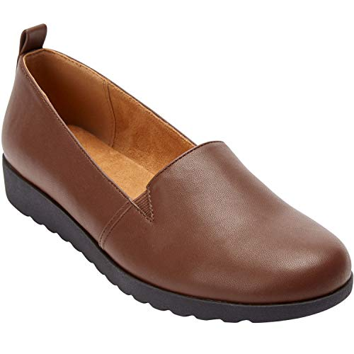 Comfortview Women's Wide Width The June Flat Comfortable Slip-On Loafer Shoe Shoes - 7 WW, Cognac
