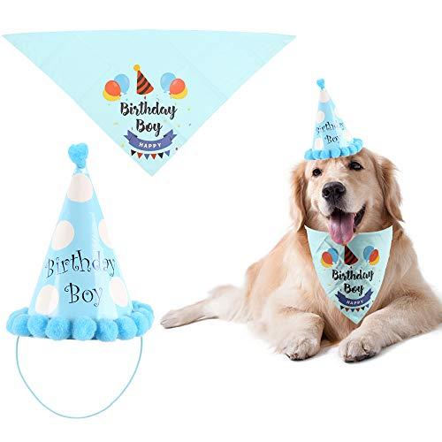 """NAHUAA Hund Geburtstag Bandana Halstuch Dog Birthday Bandana-Schals Dreieck Schals """"Happy Birthday Boy"""" mit Geburtstag Partyhut für 11-22 inch Nackengröße Haustiere Katzen Geburtstag Dekor"""