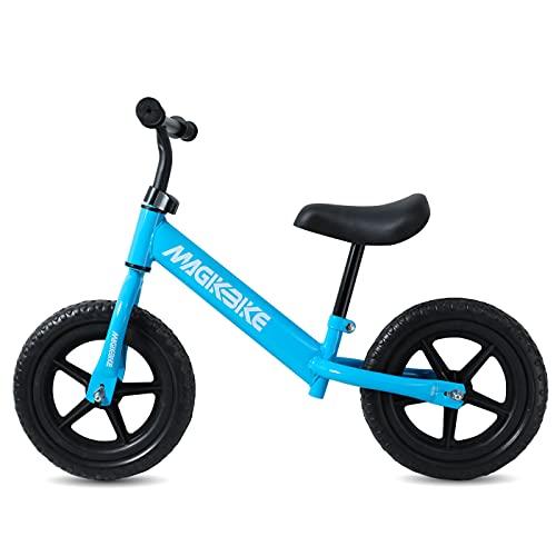 MAGIKBIKE Bicicletta Senza Pedali| Bici da Equilibrio | Prima Bici Senza Pedali | Balance Bike | Manubrio e Sedile Regolabili | De 3 a 5 Anni (Azzurra RUOTE PIENE)