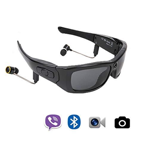 Wlehome Video-Brille mit Kopfhörer, 16GB HD 1080P Video-Recorder-Kamera Gläser, für iOS Android Smartphone polarisierten Sonnenbrillen, für Sport,Schwarz