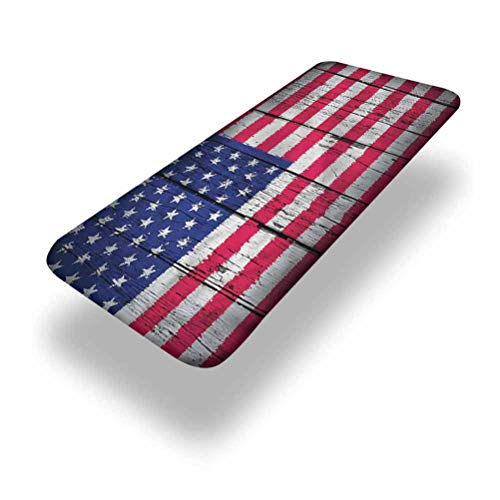 LCGGDB USA Polyester Picnic Table Fitted Tablecloth Cover,July Fourth Freedom Day Elastic Edged Fitted Table Cloth,30in x 72in (6ft),for Folding Table Outdoor Indoor Thanksgiving