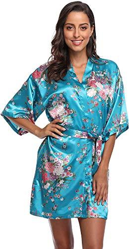 season dressing Floral Satin Kimono Robes Short Bridesmaid Robe for...