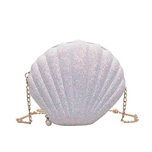ForHe - Borsa a tracolla in pelle con paillettes, con catena, a forma di conchiglia, colore: bianco