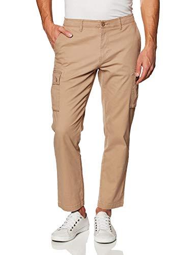 Amazon Essentials - Pantaloni cargo elasticizzati da uomo, Straight Fit, Dark Khaki, 38W x 28L