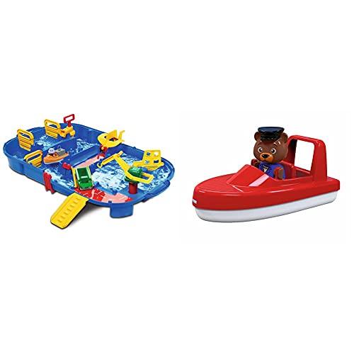 AquaPlay - LockBox - Wasserbahn als Transportkoffer mit 27 Teilen, Spieleset inklusive 1 Hippo Wilma, Amphibienauto und Containerboot, für Kinder ab 3 Jahren & 8700000251 AquaPlay Speedboot + 1 Figur