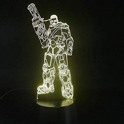 7 kleuren pistool alarm nachtlicht basis zwart 3D slaaplicht stroomvoorziening USB zaklamp LED decoratie kinderkamer cadeau verjaardag