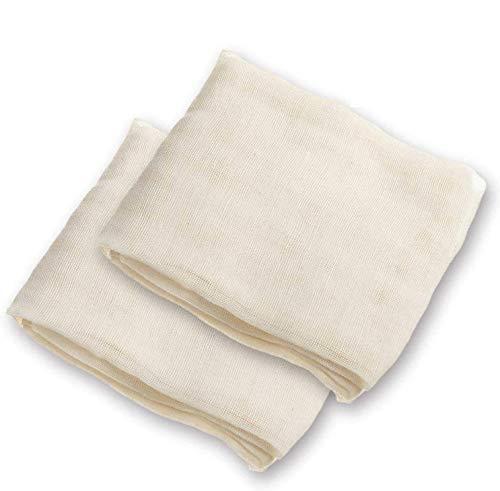 Voarge 2 Stück Passiertuch 100% Naturbaumwolle Käsetuch Wiederverwendbar, Vielseitige Seihtuch für Filtern von Schaum und Trübstoffen Filtertücher 90x90cm